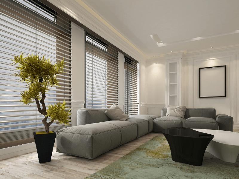Slat blinds in living room