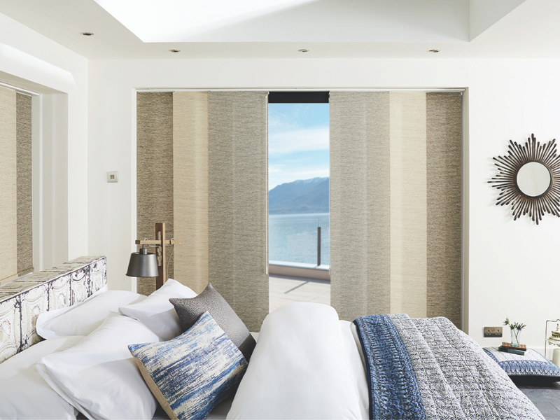 Stunning vertical blinds in beige and neutral tones